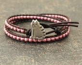 Striped Cat Jewelry Silver Pink Cat Bracelet Beaded Leather Wrap Bracelet