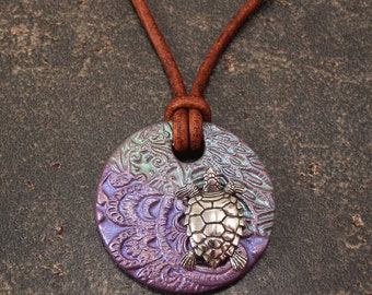 Mixed Media Turtle Jewelry  Green Pale Blue LavenderTurtle Necklace Leather Necklace Turtle Pendant Necklace