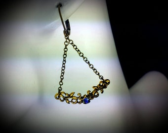 Purple Blue Crystal Gold Victorian Earrings, Heliotrope Edwardian Bridal Dangle Drops, Antiqued Gold Filigree, Titanic Temptations 16036