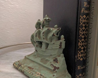 Vintage Mint Green Rustic Heavy Sailboat Bookends