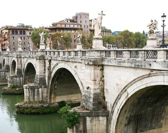 Rome Italy Photography - Bridge of Angels Photograph - Italian Architecture Print - Historical City - Office Wall Art - Italian Photo Roman
