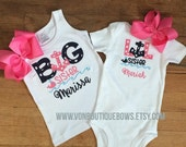 Big Little Sis Navy Anchor Hot Pink Personalized Boutique Bow Newborn 3 6 9 12 18 Months 2T 3T 4T 5T 6 8 10 12 Short Long Sleeve Shirt Tank