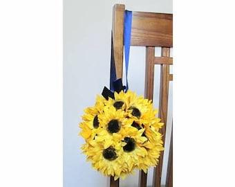 Sunflower Kissing Balls, Set of 2,  Yellow Sunflower Flower Balls, Flower Girl Bouquets, Sunflower Pew Decorations