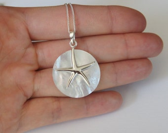 Sterling Silver Starfish Necklace, Mother of Pearl, Large Starfish, 27mm, Nautical Necklace, Seashell Necklace, Birthday Gift, Mother's Gift