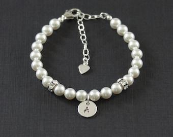 Swarovski Pearl Bracelet, Sterling Silver bracelet, Personalized Wedding Bracelet, Initial,Swarovski Crystal, Birthday Gift, Bridesmaid Gift