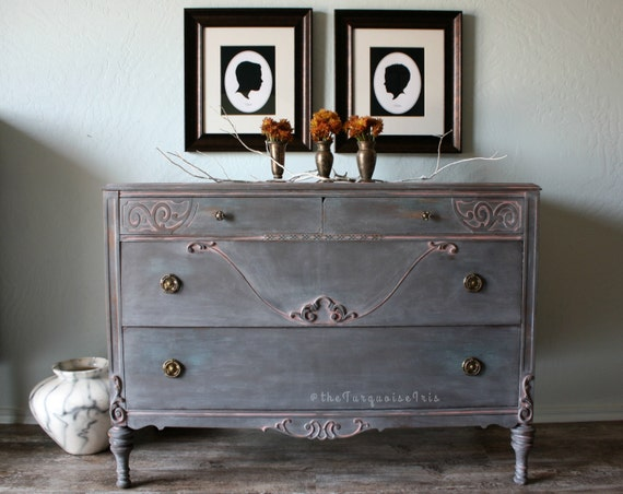 Gorgeous Antique Dresser with Mirror in Gray White Washed Antique Finish Farmhouse Chic