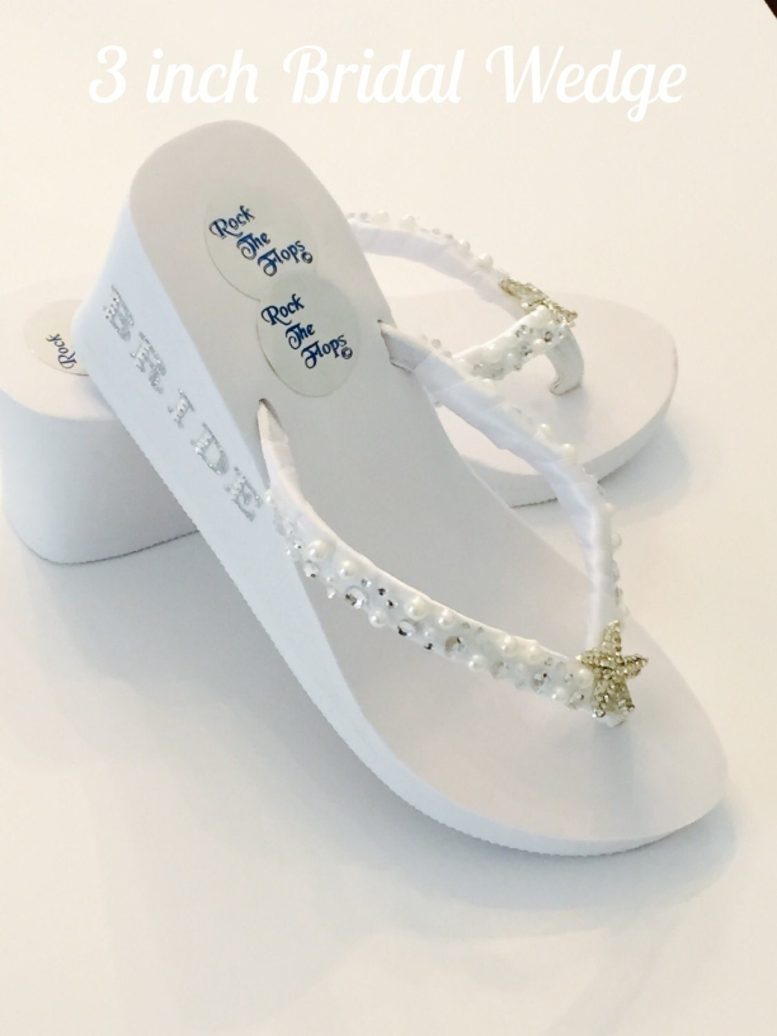 3 INCH BRIDAL WEDGES.White Wedding Flip Flops. Bridal