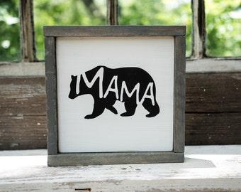 Mama Bear Silhouette Sign Rustic Country Kitchen decor farmhouse decor cottage decor kitchen sign barnwood bear cutout, baby bear sign