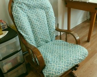 Glider Rocker Slip Cover FOR YOUR Glider Cushions - Home Decor Lovely Lattice Aqua & White Waverly fabric Slipcover