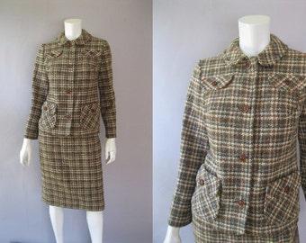 Tartan Plaid Wool Jacket Skirt - 60s Pendleton Suit  - A Line Skirt