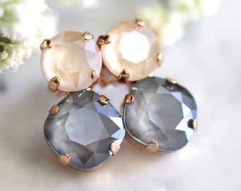 Gray Earrings, Bridal Gray Earrings, Gray Nude Earrings, Bridesmaids Earrings, Gift for her, Silver Nude Earrings, Ivory Gray Earrings