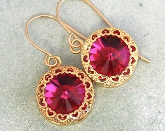 Pink Earrings,Swarovski Earrings,Fuchsia Drop Earrings,Dark Pink Crystal Earrings,Gold Earrings,Gift for her,Dark Pink Earrings,Pink drops