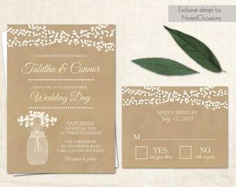 Rustic Wedding Invitation Printable Country Wedding Invitation Digital File Kraft  Paper Wedding Invitation Suite Mason Jar