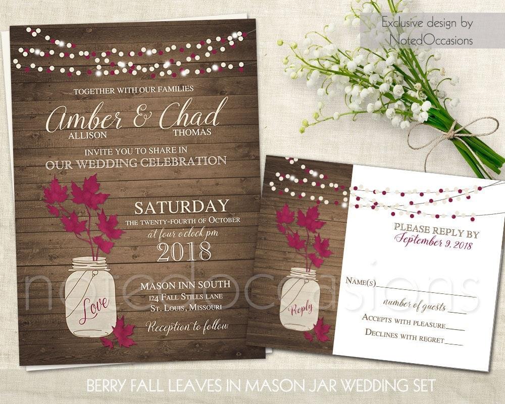 Purple Rustic Wedding Invitations: Rustic Wedding Invitation Set Purple Leaves In Mason Jar