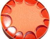 Vintage Button Celluloid Cut & Coated Bittersweet Orange color