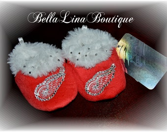 Swarovski Crystal Blinged Detroit Redwing BABY Slippers - 6-9 Months - Ready To Ship!