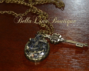 Story Line Necklace - Long Antiqued Gold Chain Pendant, Key and Charm Necklace with Swarovski Crystals - Ready to Ship!