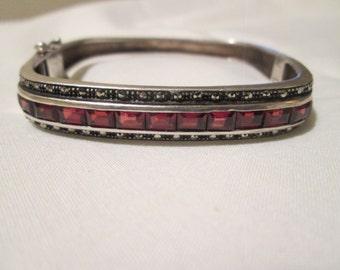 open back MARCASITE invisibly channel set GARNETS sterling silver MODERNIST bracelet bangle