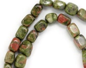 MOVING SALE Unakite Beads - Tiny Pebbles - Full Strand