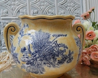 DISCOUNTED Medium Quaint~TOILE Patterned~Vintage Planter~Vase~Yellow And Blue