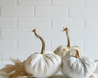 Suede Pumpkins, Fabric Pumpkin, Grey Pumpkin, Rustic Pumpkin, Autumn Whites, Gold Pumpkin, Fabric Pumpkin Trio,