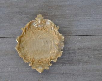Gold Seashell, Seashell Dish, Floral Seashell Dish, Brass Ring Dish, Coastal Dish, Seashell Ring Holder, Gold Floral Dish
