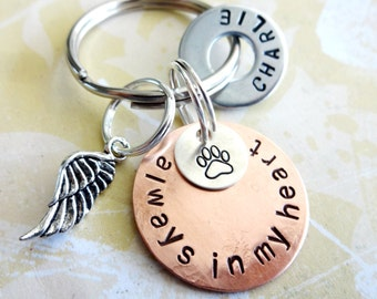 Memorial Keychain - Pet - Dog - Cat - Personalized Hand Stamped Keychain - Copper and Silver Discs, Hardware Washer & Angel Wing Charm