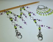 1-100 Chain Row Counter System- Purple & Green Number Stitch Markers- Gift for Knitters- Knitting Tools- Supplies