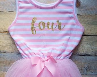 Birthday Number Pink/White stripe tutu dress