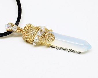 "Gold and Opalite Crystal Point ""Atlantis"" Necklace"