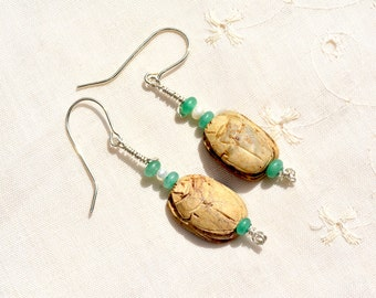 Scarab Earrings. Beetle Silver Earrings+ Pearls& Aventurine. Vintage Egyptian Carved Stone Scarab Amulet Bead Egyptian Revival Free Shipping