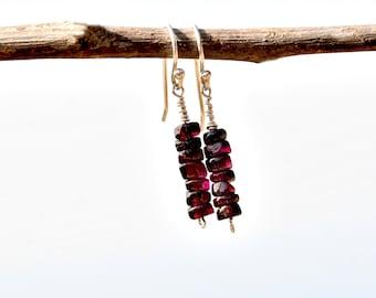 Dainty Garnet Earrings. Silver Earrings. Stone Jewelry. Red Stone Beaded Earrings. Drop Earrings. Garnet Jewelry. Silver Jewelry. Israel