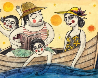 Boat Limited Edition Print A3 / 11.69 x 16.54 Fine Art Illustration Holiday Summer Family Print