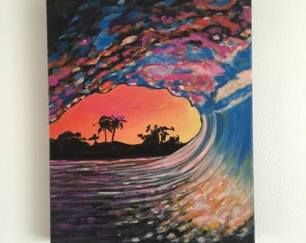 Original Acrylic Painting Pink Wave