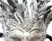 Silver Bird Mask Feather Gothic Black Silver Carnival Samba Adult Unisex MASK Mardi Gras