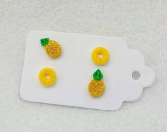 Earrings Pierced polymer clay Pineapple and Rings Handmade. Stud earrings