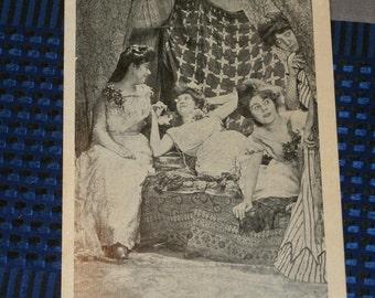 "Antique Early 1900s Leap Year Postcard Group Fancy Women Boudoir ""Not a Victim in Sight"" 1909 Postmark"
