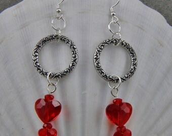 Handmade Brass Silver and Red Czech Glass Heart Earrings