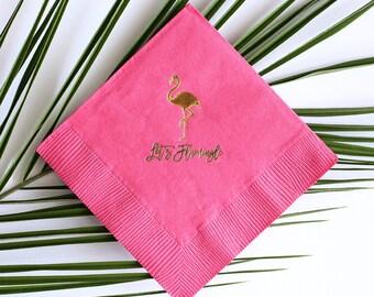 Tropical Flamingo Party - Gold Foil Cocktail Napkin Set