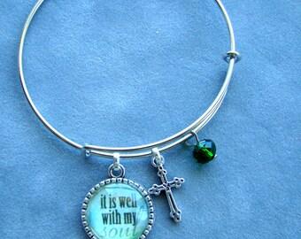 Expandable Wire Bracelet, Faith Bangle, Cross Bracelet