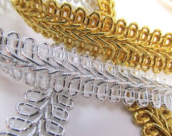 Metallic Gold or Silver 1/2 inch or 13mm Romanesque Flat Gimp Trim sold by the yard