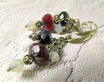 Marsala Red Triple Drop Dangle Earrings in Brass, Dark Red and Black Picasso Czech glass rondelles and Swarovski Sand Opal Crystal Bicones