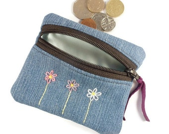 Embroidered flower denim coin purse, zipped card pouch