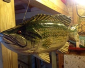 "Large Mouth Bass MOBILE 24"" detailed wooden bass chainsaw carving original hand carved 3D home decor lake fish with a stainless steal hanger"