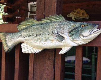 """Largemouth Bass 36"""" wooden fish carving Large Mouth Bass wall mount rustic home decor game fish sculpture detailed chainsaw carved art"""