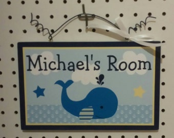 """Brody Whale/Nautical/Blue Whale/Navy""""  Personalized Canvas on Wood Door Sign/Plaque Nursery Decor/Baby/Kids/Teacher"""