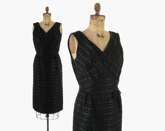 Vintage 50s Cocktail Dress / 1950s TERRY ALLEN Silk Ribbon Striped Little Black Dress S