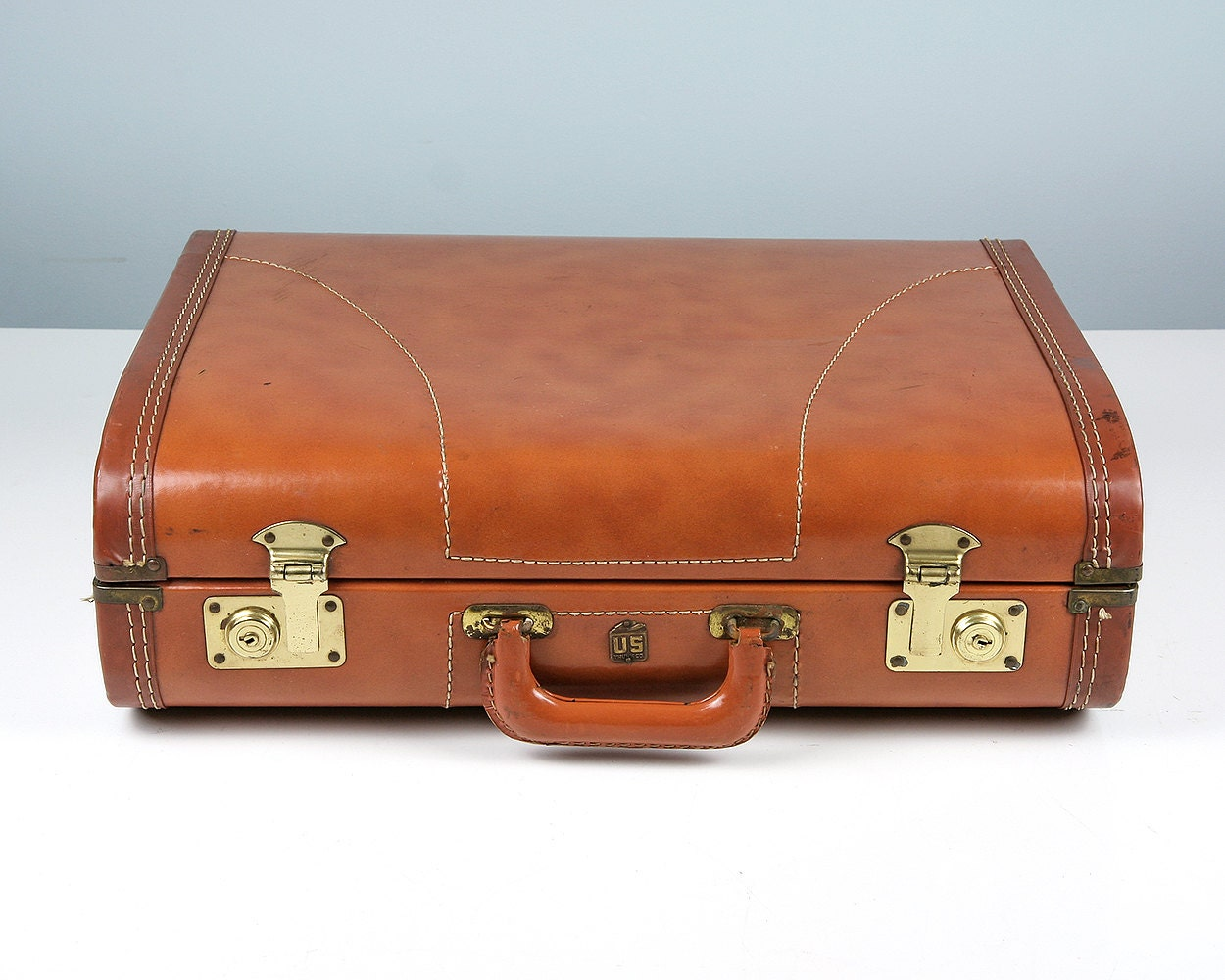Vintage suitcase brown suitcase us trunk co suitcase1950s - Vintage suitcase ...