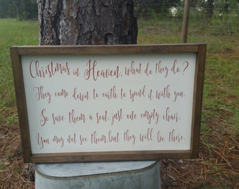 "Christmas in Heaven Wood Sign - Christmas Memorial Gift - In Loving Memory Wood Sign - 19.5""x13"""