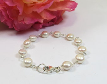 Delicate Freshwater Pearl Bracelet, Coin Freshwater Pearl Bracelet on 925 Sterling Wire, Quality Simple Creamy Freshwater Pearl Bracelet